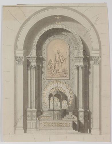 """""""Neoclassical Architectural Design"""", Austrian School, Drawing,Early 19th Century"""