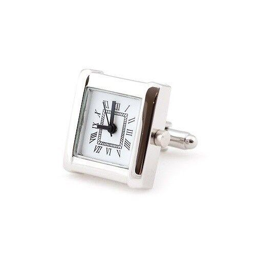 White Silver Functional Clock Watch Square Cufflinks + Free Box & Cleaner