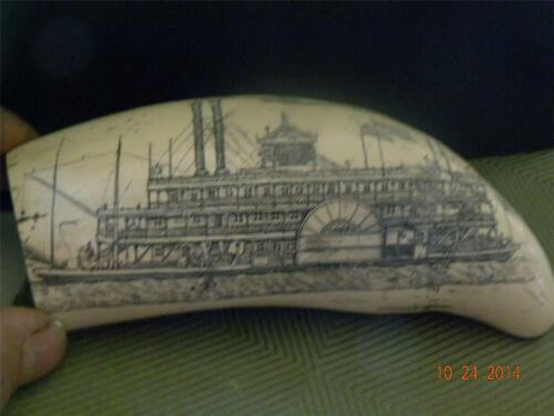 "Scrimshaw whale tooth resin replica "" MISSISSIPPI PADDLE WHEELER"" 7"" DETAILED"