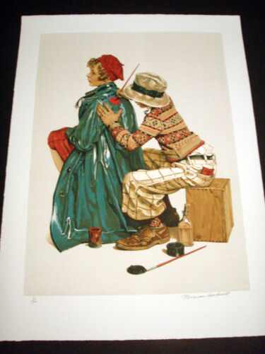 """Norman Rockwell Original Lithograph Hand Signed """"She's My Baby"""" 3/200"""