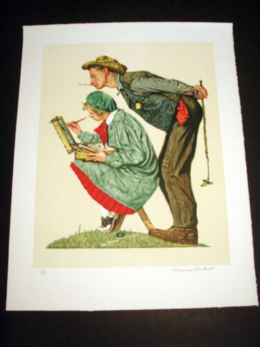 """Norman Rockwell Original Lithograph Hand Signed """"Hayseed Critic"""" 3/200"""