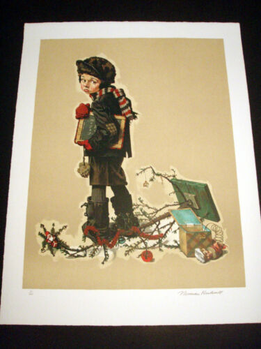 """Norman Rockwell Original Lithograph Hand Signed """"After Christmas"""" 3/200"""