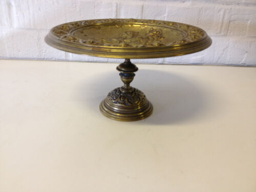 Antique European Brass Tazza Compote Centerpiece w/ Woman & Head Decoration