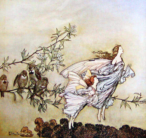 The Fairies in Spring   by Arthur Rackham  Paper Print Repro