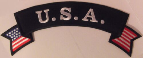LARGE USA ROCKER PATCH - RED WHITE BLUE - 12 INCHES AMERICAN FLAG VEST PATCHOther Militaria - 135