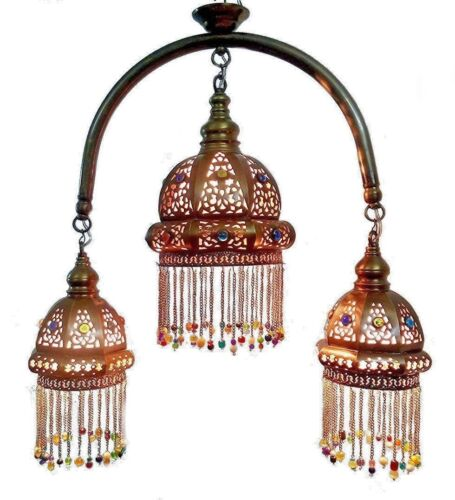 BR349 Vintage Reproduction Arc Beaded Ceiling Fixture Brass Chandelier