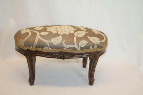 French Louis XV Carved Oval Foot Stool Foot Rest Circa 19th, New Upholstery