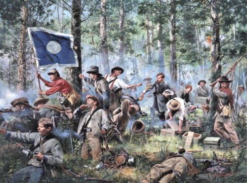 """""""Cleburne at Chickamauga, 2nd Tennessee Regiment"""" Don Troiani Civil War Canvas"""