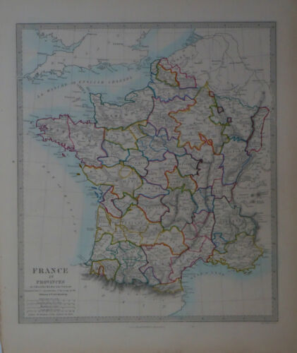 1847 Genuine Antique hand colored map of France in Provinces. SDUK