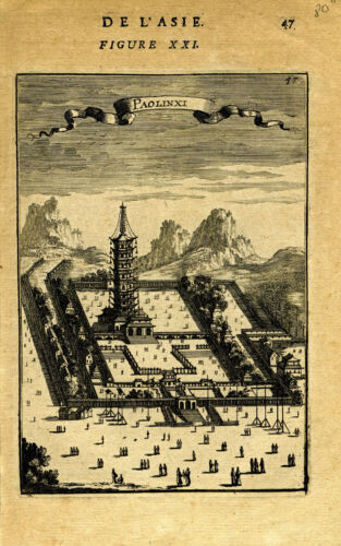 "1683 Genuine Antique print ""Paolinxi"", Temple, Nanking, China. A.M. Mallet"
