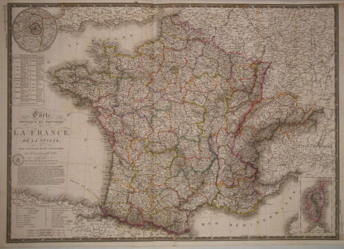 1831 Genuine Antique hand colored map of France & Switzerland. by A.H. Brue