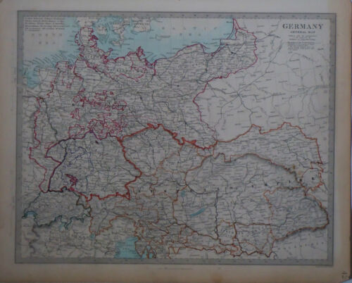 1847 Genuine Antique hand colored map of Germany & Austrian Empire. SDUK