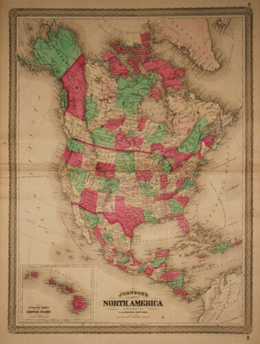 1870 Genuine Antique Hand Colored Map of North America. Johnson