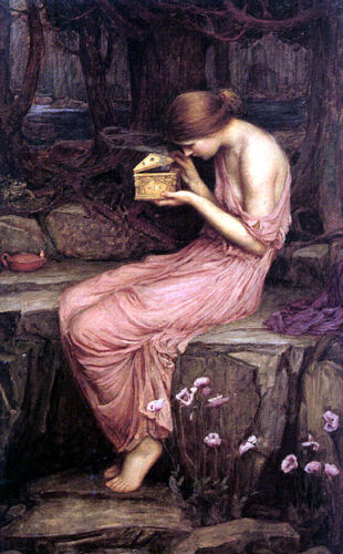 Psyche Opening the...    by John William Waterhouse  Paper Print Repro
