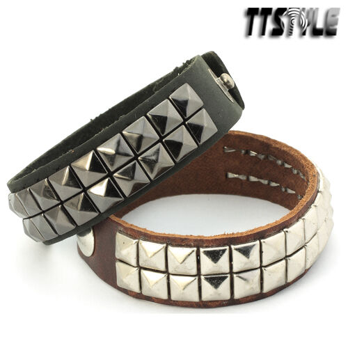 TRENDY TTstyle BLACK/Briown Leather Biker Bracelet CUFF NEW