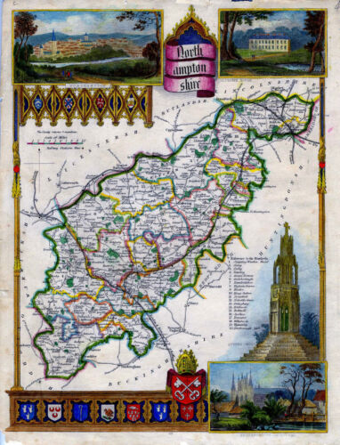 c.1840 Genuine Antique hand colored map of Northamptonshire, England. Moule