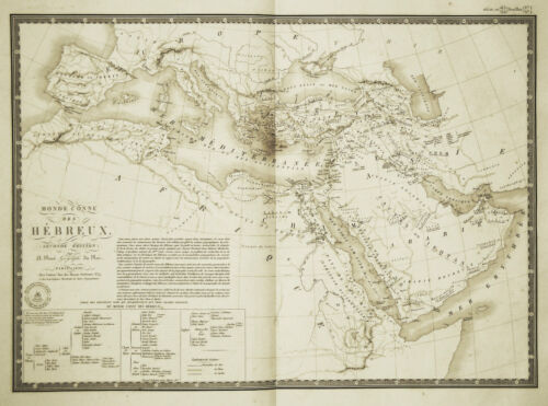 1830 Genuine Antique map of the Hebrew World by A.H. Brue