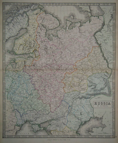 1856 Genuine Antique Large Hand Colored Map Russia in Europe. G. Philip & Son