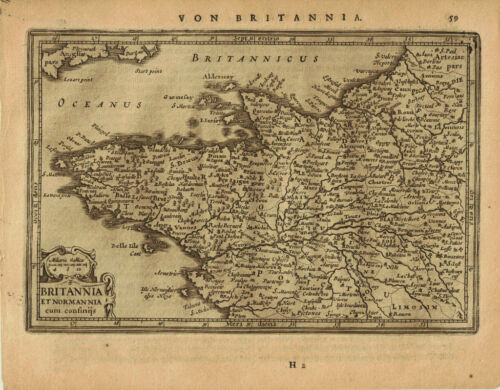 1651 Genuine Antique map of NW France, Britannia & Normandy. by Jansson