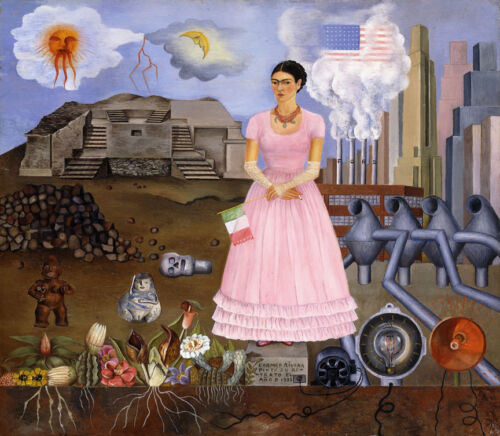 Self-Portrait on the Borderline...  by Frida Kahlo  Giclee Canvas Print Repro