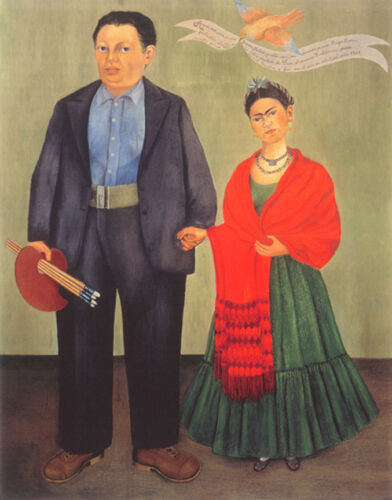 """Frieda and Diego Rivera  by Frida Kahlo  14""""  Paper Print Repro"""