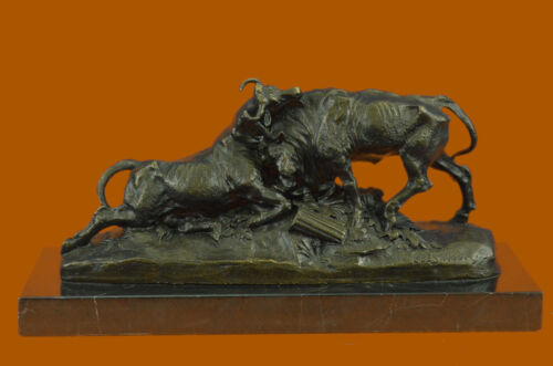 Art Deco Combat Bull Bulls Bronze Artwork Sculpture Figurine Figure Sale Decor