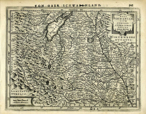 1651 Genuine Antique map of S Germany, Danube River, Boden See. Mercator/Jansson