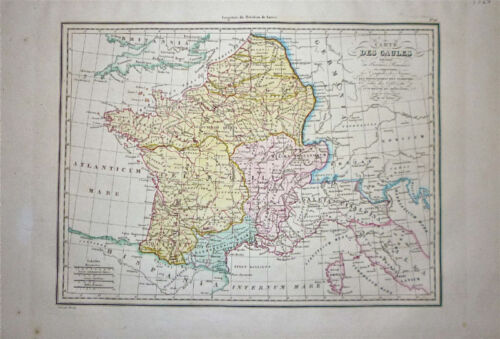 1833 Genuine Antique map of Ancient France. Malte-Brun