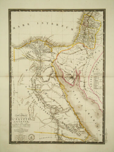 1822 Genuine Antique large map of Ancient Egypt. by A.H. Brue