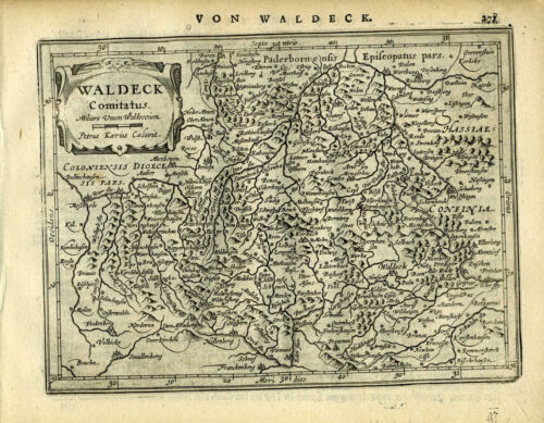 1651 Genuine Antique map west central Germany, Waldeck. Mercator/Jansson