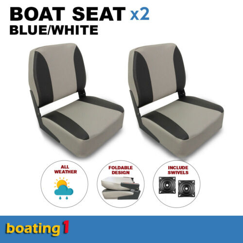 2 Deluxe Boat Seats Grey/Charcoal With Swivels Folding Fishing Cushion Marine