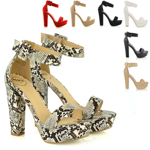 Womens Ankle Strap Sandals Block High Heel Platform Ladies Party Shoes Size 3-8