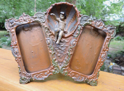 Antique VICTORIAN Small POLY-CHROMED Metal PUTTI Cherub Double Picture FRAME