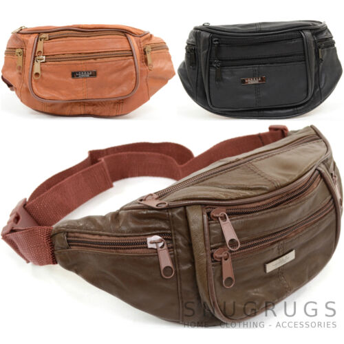Unisex Soft Nappa Leather Bum Bag / Waist Bag / Money Belt