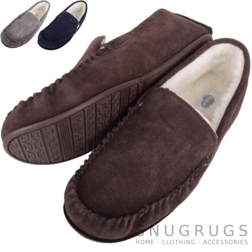 3874cba8b4f SNUGRUGS Mens Genuine Suede Wool Lined   Sheepskin Moccasin Slippers Rubber  Sole