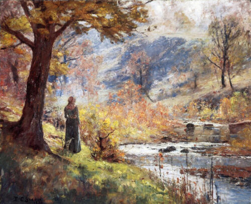 Morning by the Stream  by T C Steele  Giclee Canvas Print Repro