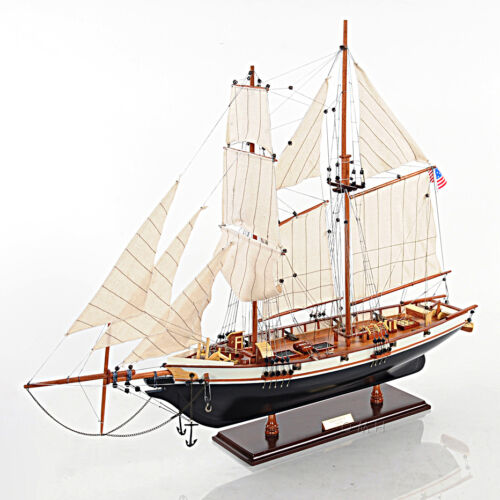 "1847 Harvey Baltimore Clipper Wooden Model Tall Ship 35"" Built Sailboat New"