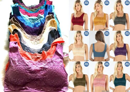 3 Bra 6 Sport Bras Yoga Active Wear Workout LACE Seamless TOP CAMI 1876 ONE Size
