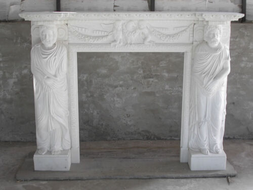 WHITE MARBLE FIREPLACE MANTEL  with Grecian figures