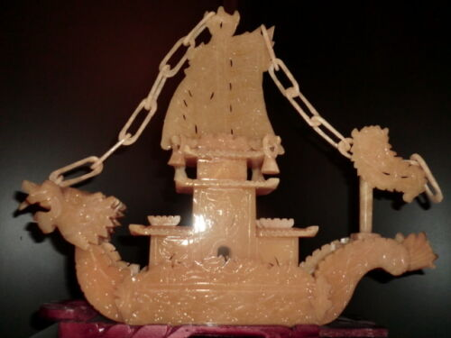 "VERY LARGE BEAUTIFUL CARVED YELLOW JADE DRAGON BOAT STATUE 14.75"" (SHIPS USA)"