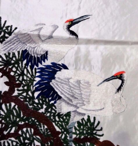 Handwoven Silk Chinese Embroidery - 8 Cranes (153 cm x 73 cm) #2