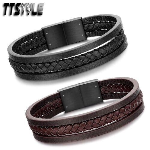 Quality TTstyle Genuine Leather Black Stainless Steel Buckle Bracelet Wristband