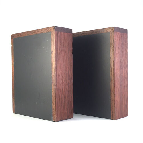 Pair: Vintage Mid-Century Modern Teak Wood & Slate Bookends by Harpswell House