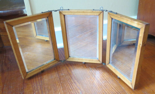 ART NOUVEAU TRIPLE FOLDING OAK FRAME MIRROR BEVELED GLASS with FLOWERS POPPIES