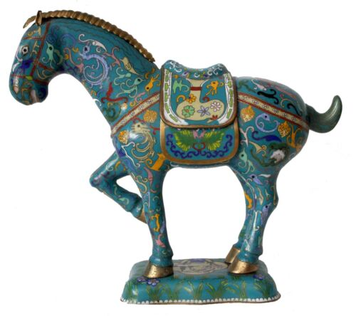 Antique Chinese Royal Bronze Handwork Cloisonne Enamel Lucky Horse Statue