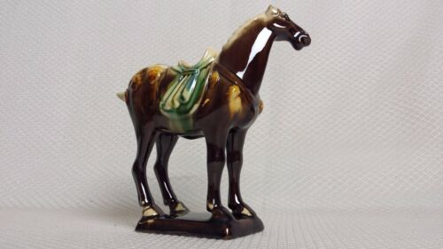 Beautiful Vintage Chinese Tang Dynasty Majolica Sancai Drip Glaze War Horse 1950