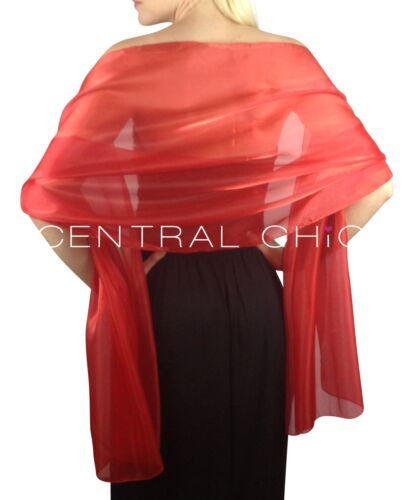 Scarlet Red Silky Bridal Bridesmaid Wedding Prom Shawl Stole Wrap Pashmina