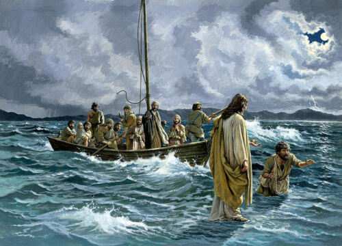 Christ walking on the Sea of Galilee  by Anonymous   Giclee Canvas Print Repro
