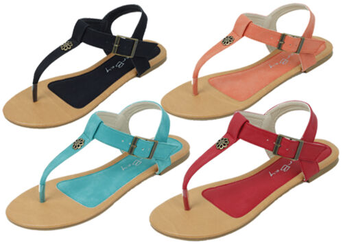 Womens Sandals Gladiator Roman Flats Fashion Thongs T Straps Buckle Colors Shoes