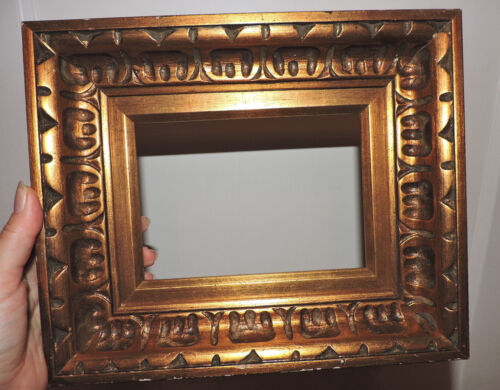 Vintage Small Carved MID-CENTURY Dark GOLD Wood Picture Frame 7 1/2 x 9 c1970s
